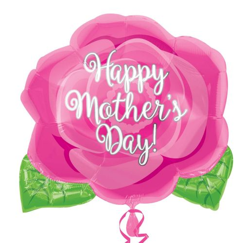 Happy Mother's Day Pink Rose Jnr Shape Foil Balloons S40